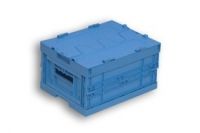 Blue Solid Plastic Folding Stacking Box